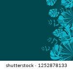 flower frame monstera ufo green ... | Shutterstock .eps vector #1252878133