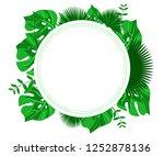 flower frame monstera ufo green ... | Shutterstock .eps vector #1252878136