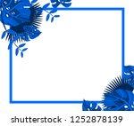 flower frame monstera ufo green ... | Shutterstock .eps vector #1252878139