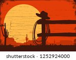 wild west landscape background  ... | Shutterstock .eps vector #1252924000