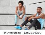athlete female and male runner...   Shutterstock . vector #1252924390