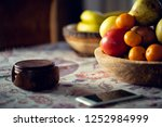 table covered with a tablecloth ... | Shutterstock . vector #1252984999