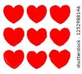 vector set of red grunge art... | Shutterstock .eps vector #1252988146