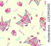 cute hand drawn unicorn pattern ... | Shutterstock .eps vector #1252991050