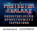 super hero font. metallic... | Shutterstock .eps vector #1252998910