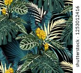tropical exotic floral green... | Shutterstock .eps vector #1253012416