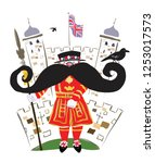 a beefeater  yeoman warder ... | Shutterstock .eps vector #1253017573
