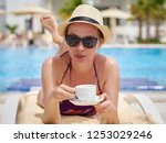 young european lady in a sunhat ...   Shutterstock . vector #1253029246
