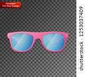 pink ladies sunglasses on... | Shutterstock .eps vector #1253037409
