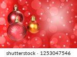 christmas balls decoration on...   Shutterstock . vector #1253047546