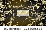 2019 realistic gold tinsel... | Shutterstock .eps vector #1253056633