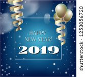 2019 new year  christmas vector ... | Shutterstock .eps vector #1253056720