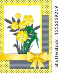 postcard with a bouquet of...   Shutterstock .eps vector #1253059219