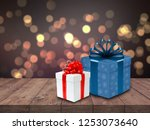 white and blue gift box on... | Shutterstock . vector #1253073640