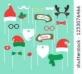 set of piece photo booth props... | Shutterstock .eps vector #1253076466