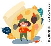 little artist girl in beret.... | Shutterstock .eps vector #1253078803