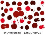 hand drawn set of red ink spots ... | Shutterstock .eps vector #1253078923