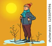 skier man spring in the forest  ... | Shutterstock .eps vector #1253099596