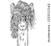 winter llama. coloring book... | Shutterstock .eps vector #1253112163