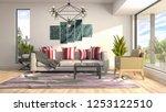 interior of the living room. 3d ... | Shutterstock . vector #1253122510