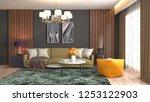 interior of the living room. 3d ... | Shutterstock . vector #1253122903