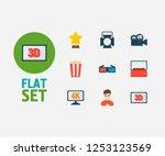 movie icons set. 4k cinema and...