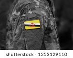 flag of brunei on soldiers arm. ... | Shutterstock . vector #1253129110