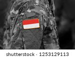 flag of indonesia on soldiers... | Shutterstock . vector #1253129113
