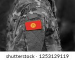 flag of kyrgyzstan on soldiers... | Shutterstock . vector #1253129119