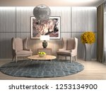 interior with chair. 3d... | Shutterstock . vector #1253134900