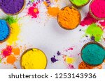 colorful indian powder paints... | Shutterstock . vector #1253143936