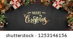 christmas gift boxes on holiday ... | Shutterstock . vector #1253146156