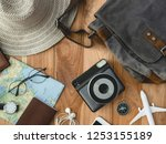 top view travel concept with... | Shutterstock . vector #1253155189