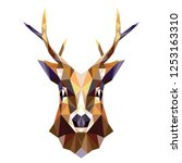 polygonal portrait of a deer.... | Shutterstock .eps vector #1253163310