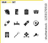 healthcare icons set with pin ...