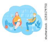 flat psychologist office ... | Shutterstock .eps vector #1253179753