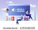 refer a friend concept. friend... | Shutterstock .eps vector #1253180230