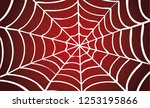 white cobweb red background.... | Shutterstock .eps vector #1253195866
