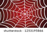 white cobweb on red background. ... | Shutterstock .eps vector #1253195866