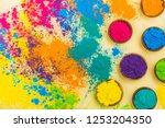 colorful indian powder paints... | Shutterstock . vector #1253204350