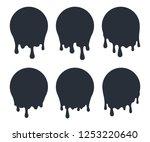 black liquid drops. paint drip... | Shutterstock .eps vector #1253220640