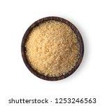 brown sugar in wood bowl... | Shutterstock . vector #1253246563