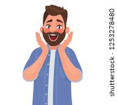 the emotion of surprise and... | Shutterstock .eps vector #1253278480