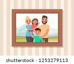 family portrait in a frame on... | Shutterstock .eps vector #1253279113