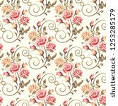 seamless floral patterns with...   Shutterstock .eps vector #1253285179