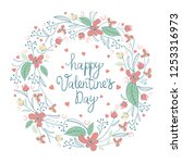 floral wreath. valentine s day... | Shutterstock .eps vector #1253316973