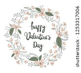 floral wreath. valentine s day... | Shutterstock .eps vector #1253317006