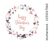 floral wreath. valentine s day... | Shutterstock .eps vector #1253317063