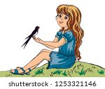 girl talking to swallow  baby ... | Shutterstock .eps vector #1253321146