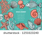 underwater world hand drawn... | Shutterstock .eps vector #1253323240
